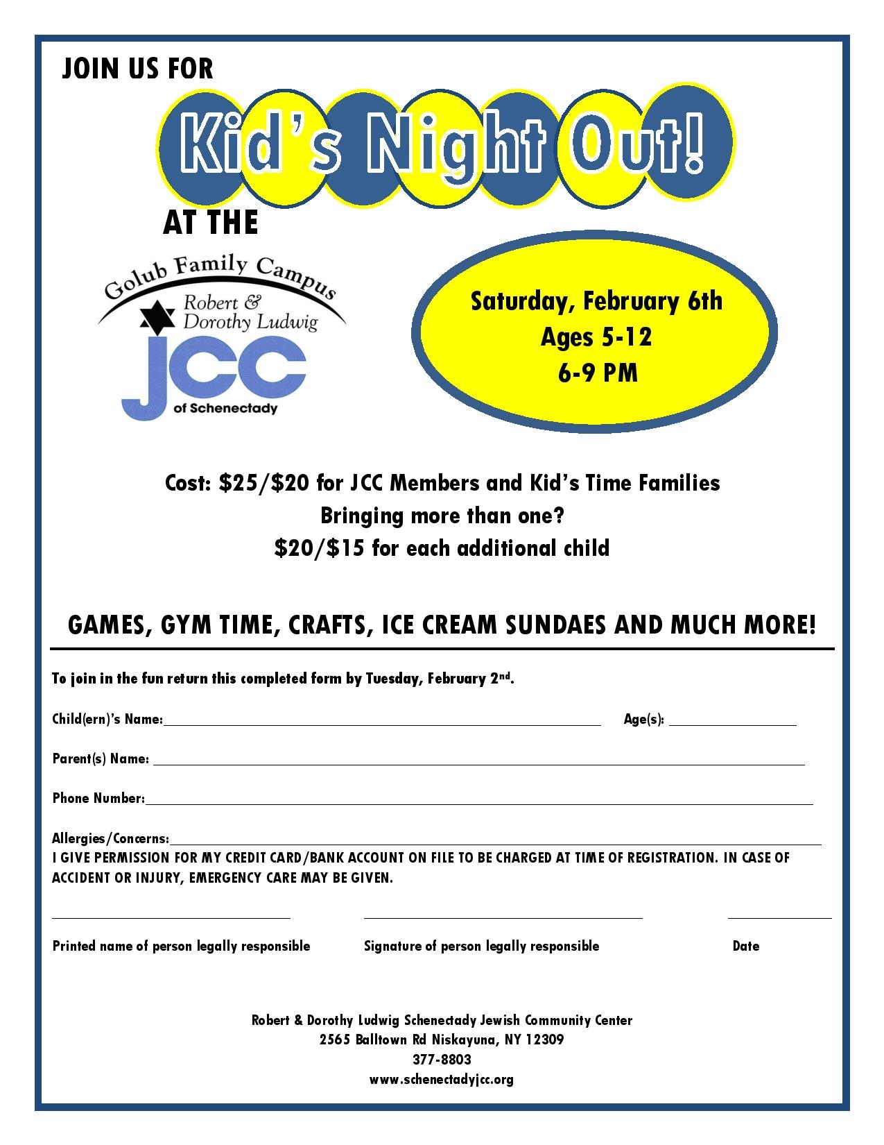 Kid's Night Out at the JCC - Schenectady Jewish Community ...